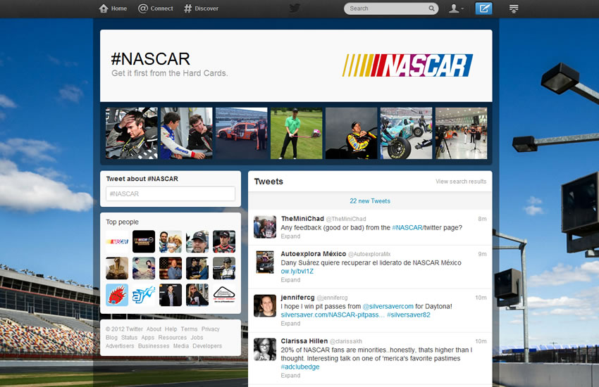 Twitter Brand Page Nascar